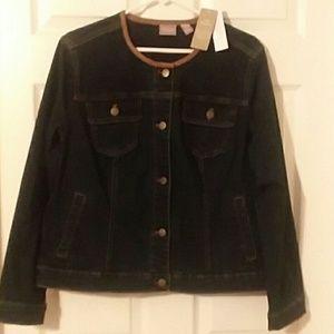 Chico's Dark Blue Denim Jacket Size 2 New